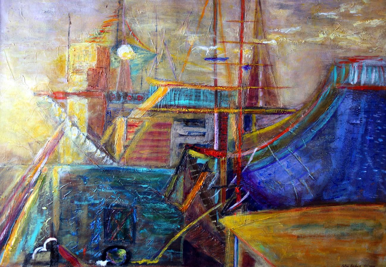 Sonnenaufgang am Hafen nach Barbara Ray